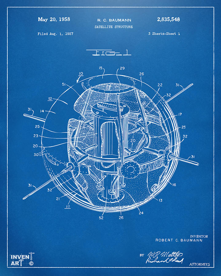 1958 Space Satellite Structure Patent Blueprint Drawing By