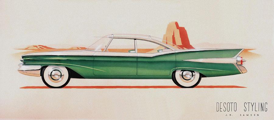 1959 Desoto  Classic Car Concept Design Concept Rendering Sketch Painting