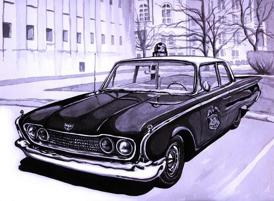 1960 Ford Fairlane Police Car Painting  - 1960 Ford Fairlane Police Car Fine Art Print