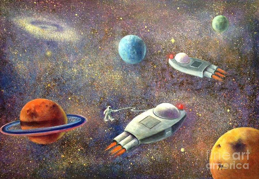 1960s Outer Space Adventure Painting