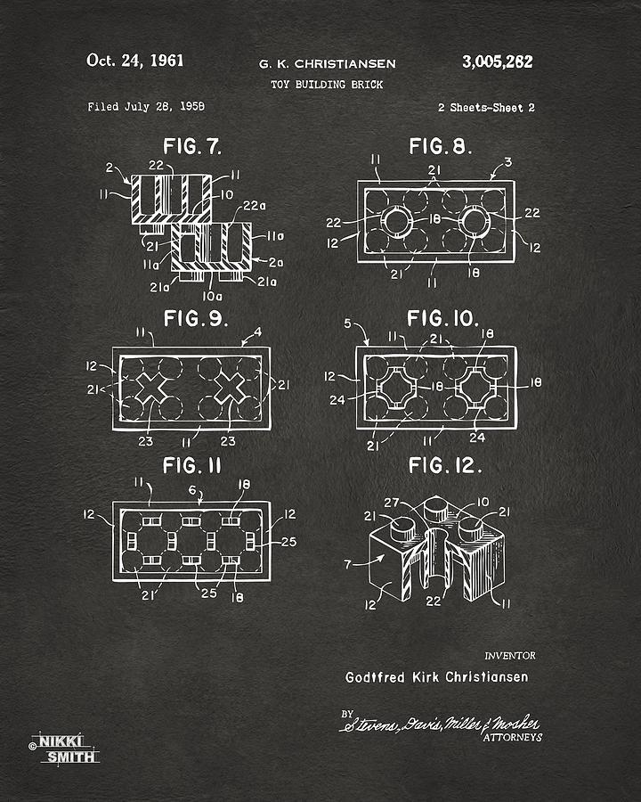 1961 Lego Brick Patent Art - Gray Drawing