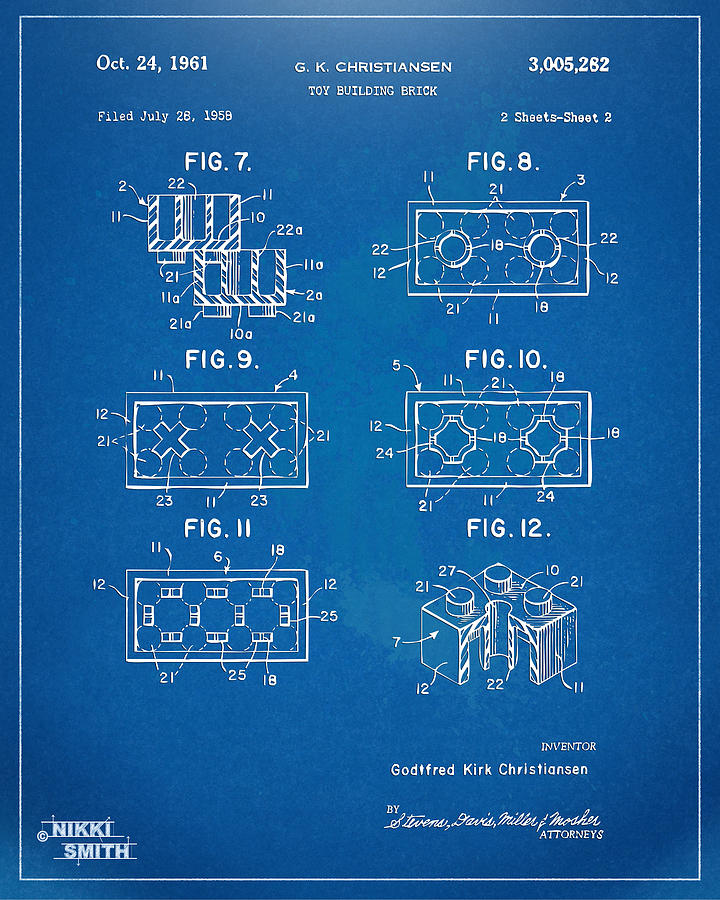 Toy Drawing - 1961 Lego Brick Patent Artwork - Blueprint by Nikki Marie Smith