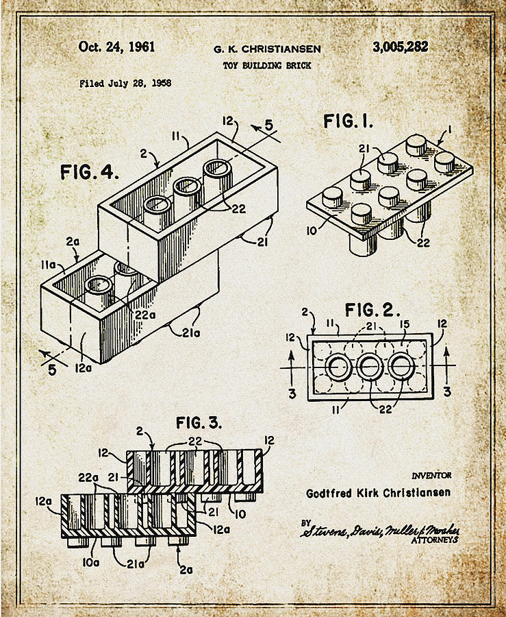 1961 Photograph - 1961 Lego Patent by Bill Cannon
