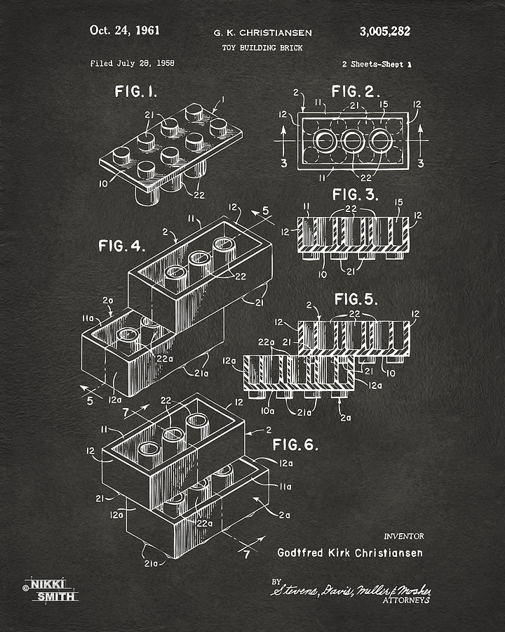 Toy Drawing - 1961 Toy Building Brick Patent Art - Gray by Nikki Marie Smith
