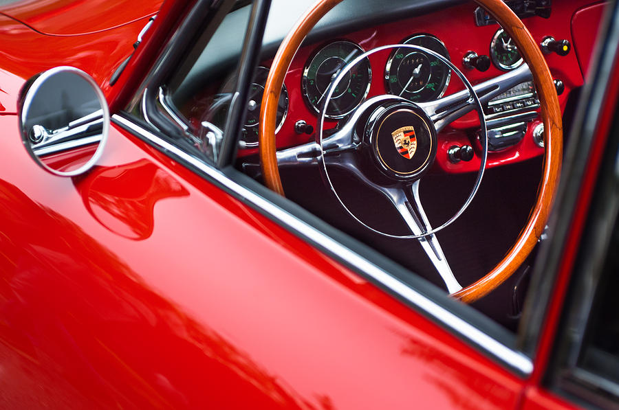 1964 Porsche 356 Carrera 2 Steering Wheel Photograph
