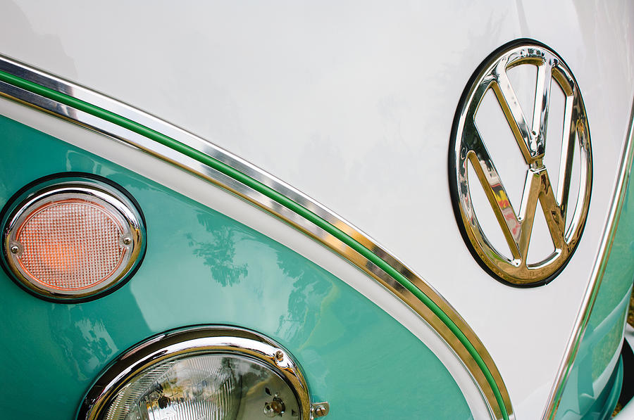 1964 Volkswagen Samba 21 Window Bus Vw Emblem Photograph  - 1964 Volkswagen Samba 21 Window Bus Vw Emblem Fine Art Print