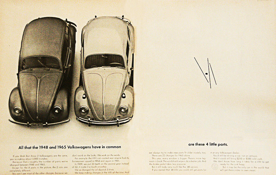 1965 Vw Beetle Advert Digital Art