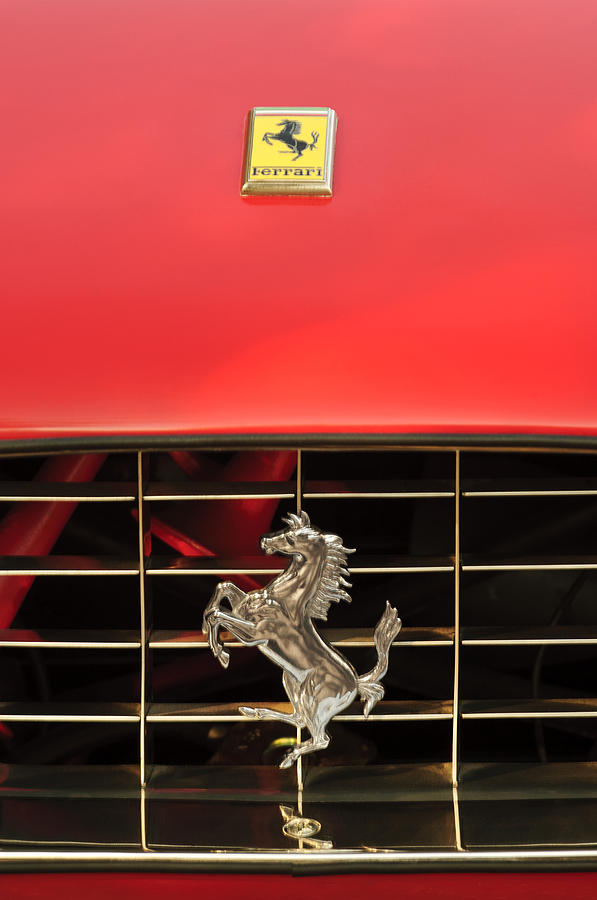 1966 Ferrari 330 Gtc Coupe Hood Ornament Photograph  - 1966 Ferrari 330 Gtc Coupe Hood Ornament Fine Art Print