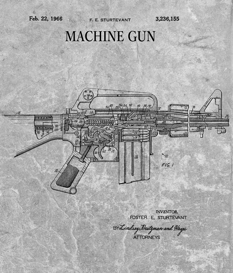 1966 machine gun patent charcoal drawing by dan sproul