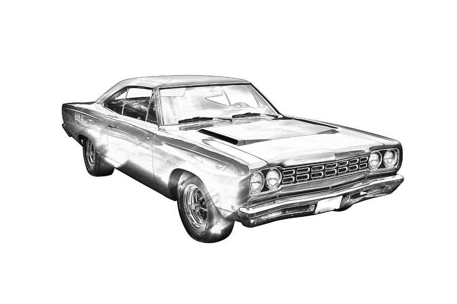 1968 plymouth roadrunner muscle car illustration