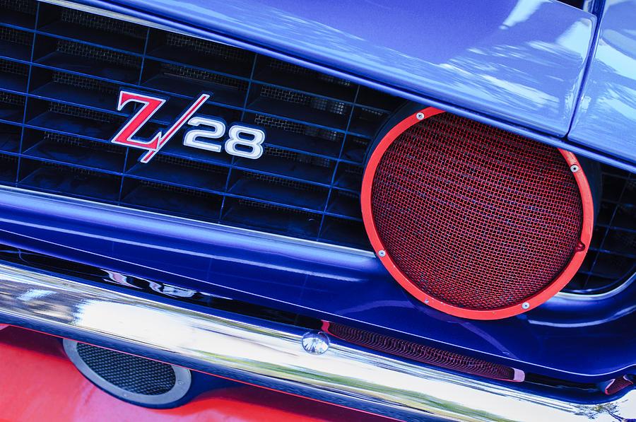 1969 Chevrolet Camaro Z28 Grille Emblem Photograph - 1969 Chevrolet Camaro Z28 Grille Emblem by Jill Reger
