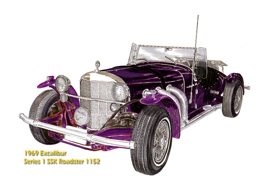 1969 excalibur ss roadster painting by jack pumphrey