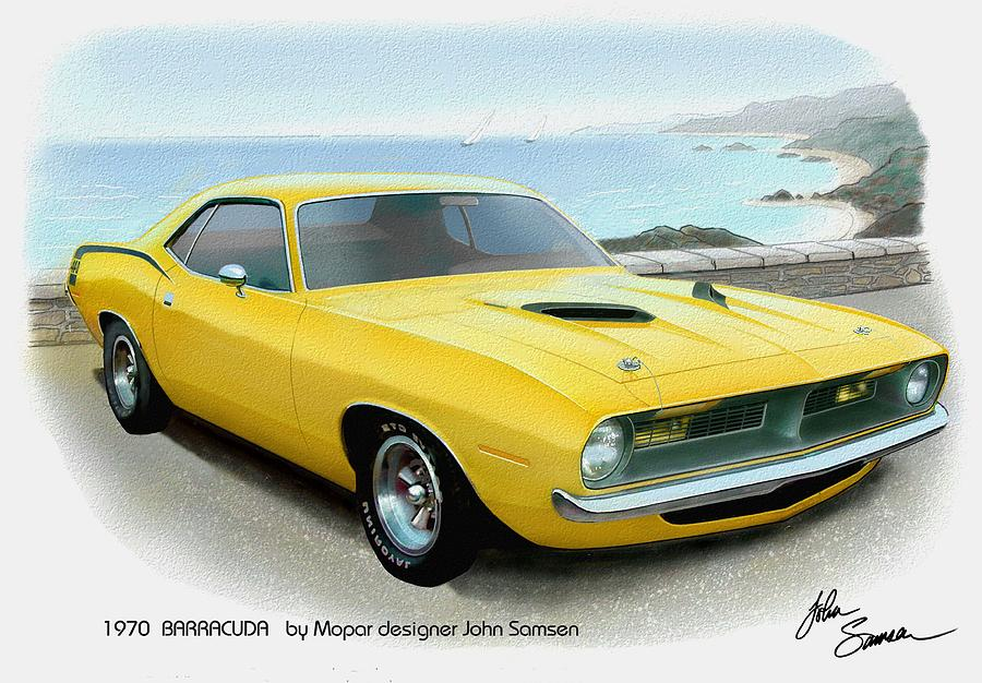 Automotive Fine Art Painting - 1970 Barracuda Classic Cuda Plymouth Muscle Car Sketch Rendering by John Samsen