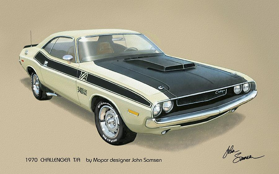 1970 Challenger T-a Dodge Muscle Car Classic Painting  - 1970 Challenger T-a Dodge Muscle Car Classic Fine Art Print