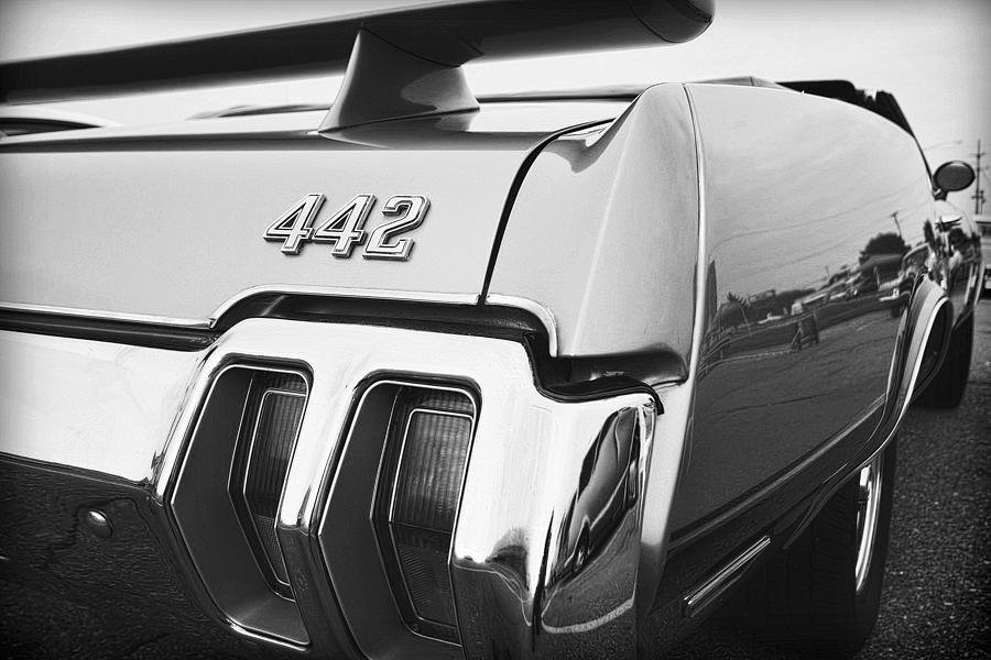 1970 Olds 442 Black And White Photograph