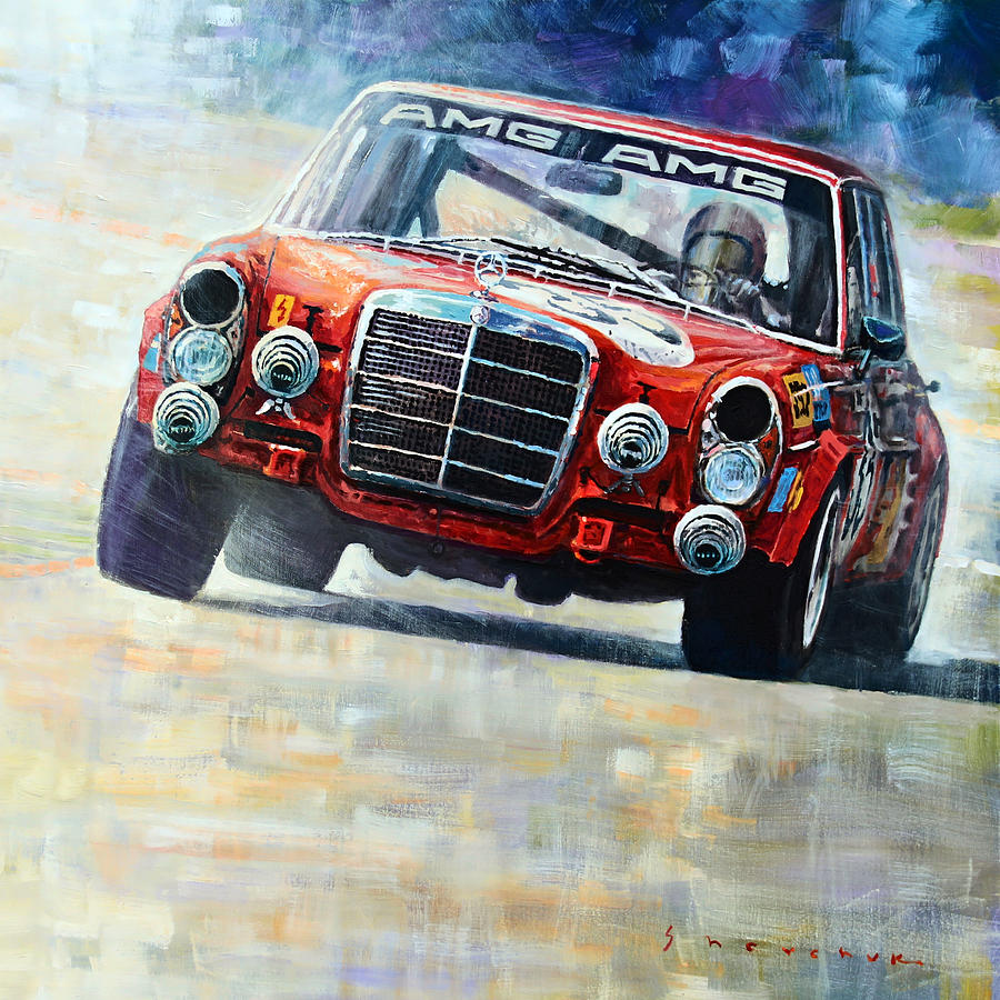 Acrilic On Canvas Painting - 1971 Mercedes-benz Amg 300sel by Yuriy Shevchuk