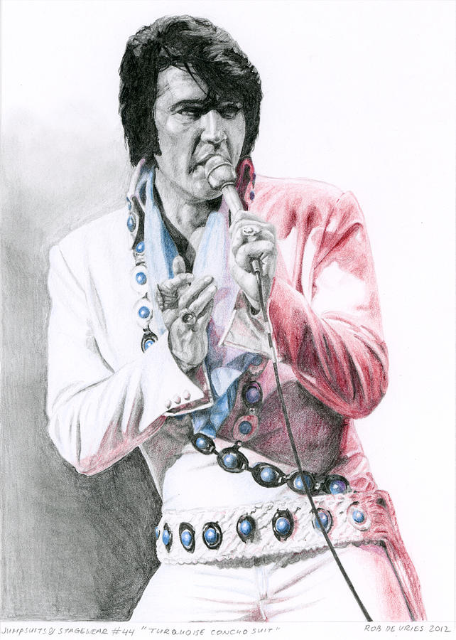 Elvis Drawing - 1971 Turquoise Concho Suit by Rob De Vries