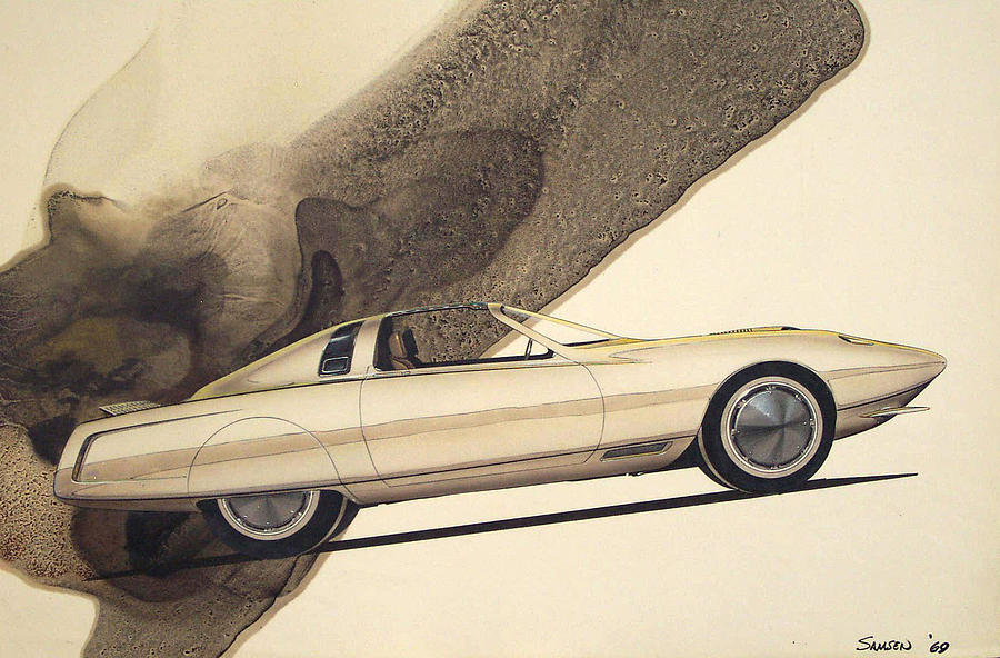 1972 Barracuda  Cuda Plymouth Vintage Styling Design Concept Rendering Sketch Drawing  - 1972 Barracuda  Cuda Plymouth Vintage Styling Design Concept Rendering Sketch Fine Art Print