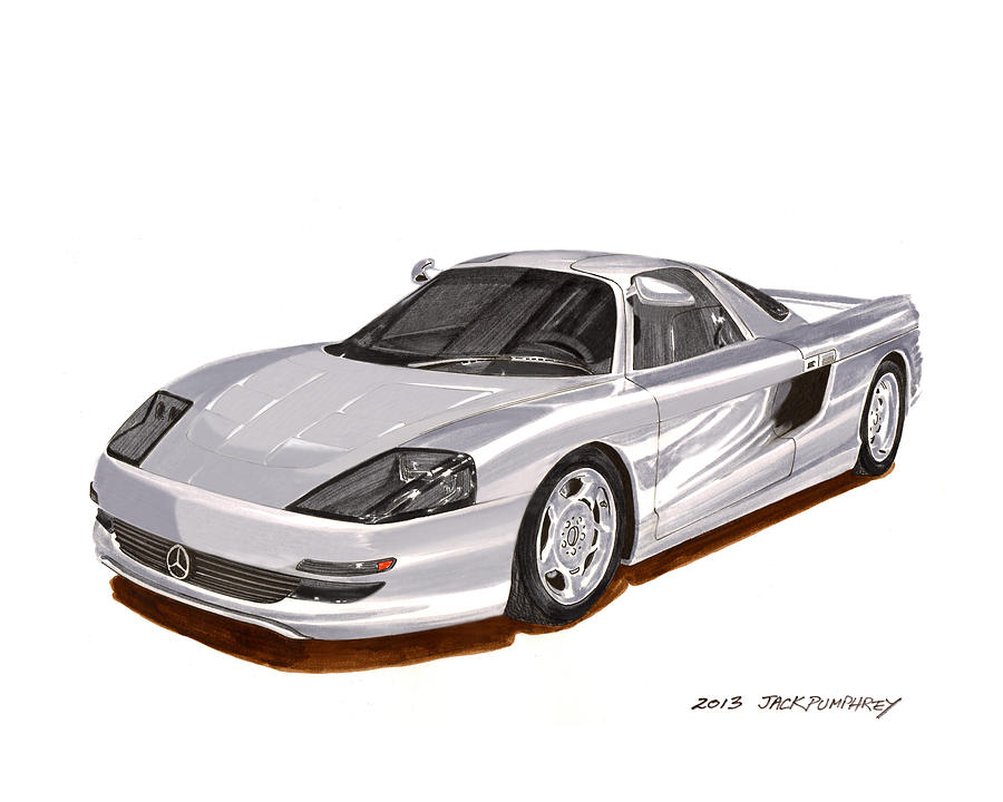 1991 mercedes benz c 112 concept painting by jack pumphrey for Mercedes benz jack