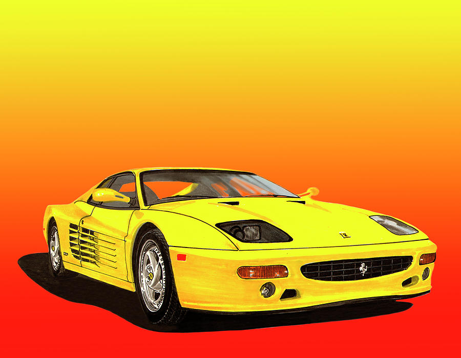 1995 Yellow Ferrari F-512m Sunrise Painting  - 1995 Yellow Ferrari F-512m Sunrise Fine Art Print