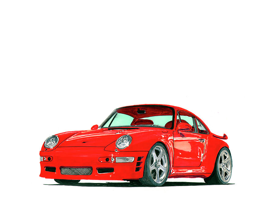 1997 Porsche 993 Twin Turbo R Painting  - 1997 Porsche 993 Twin Turbo R Fine Art Print