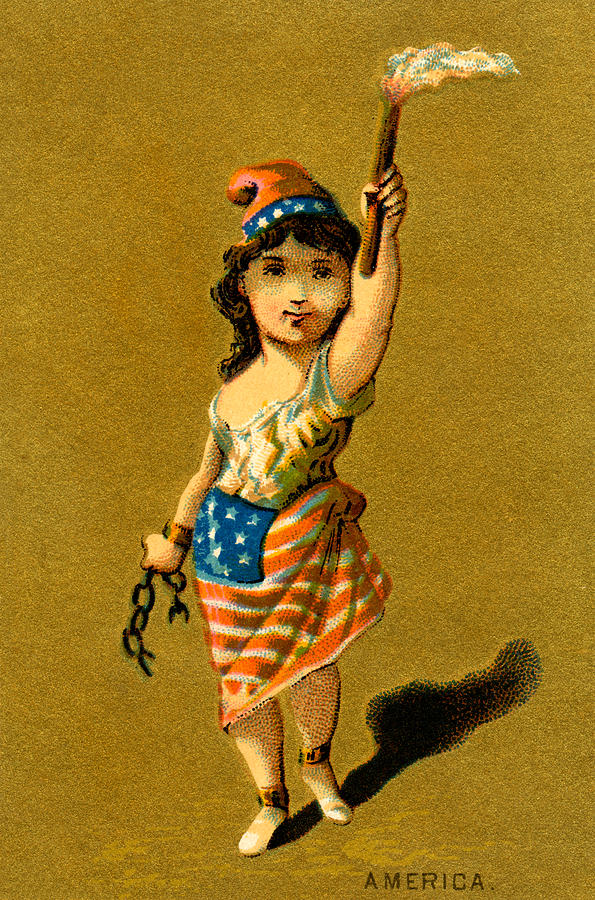 19th C. Lady Liberty  Painting  - 19th C. Lady Liberty  Fine Art Print