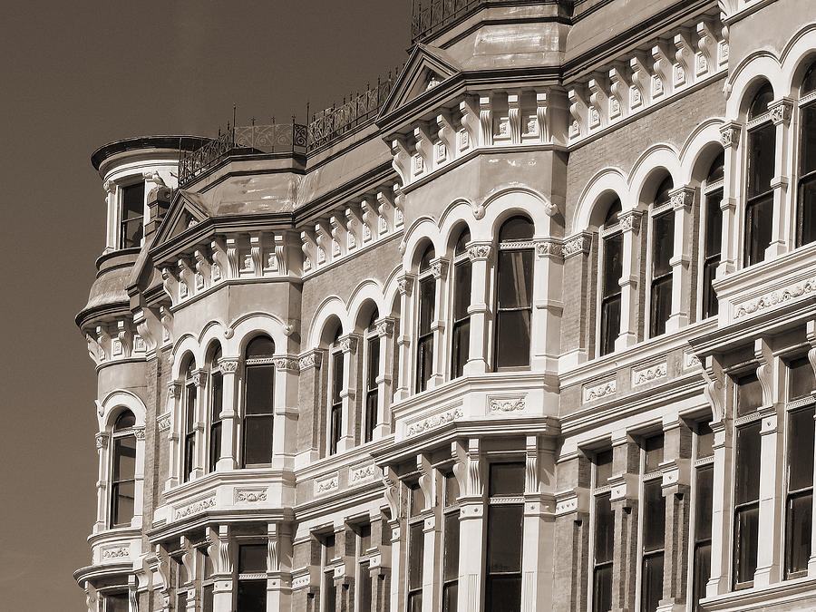 19th century architecture in sepia photograph by connie fox