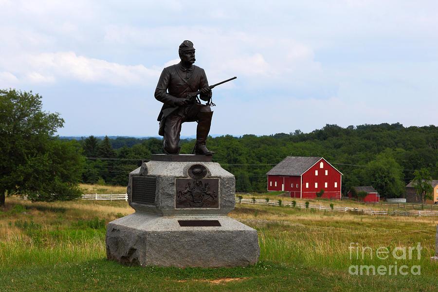 1st Pennsylvania Cavalry Defending Cemetery Ridge Photograph
