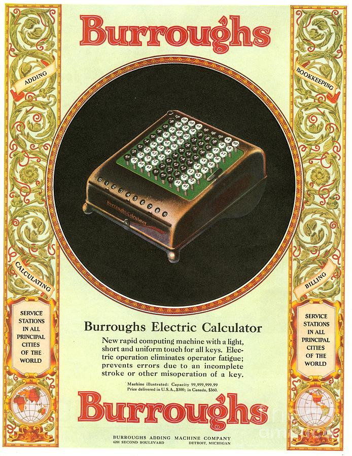 1920�s Drawing -  1920s Usa Equipment Burroughs Adding by The Advertising Archives