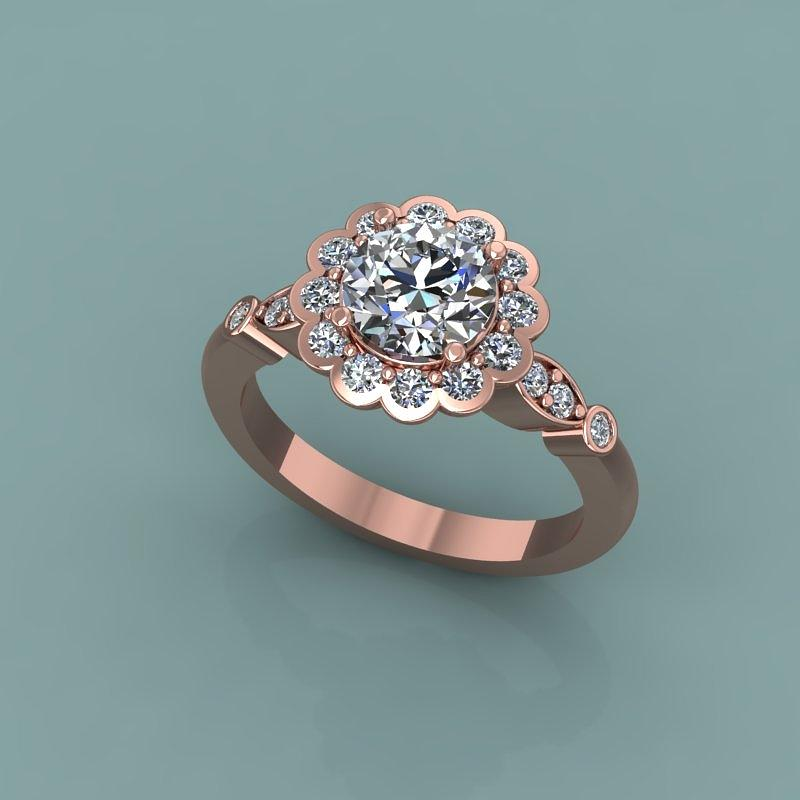14k Rose Gold Diamond Ring With Moissanite Center Stone Jewelry