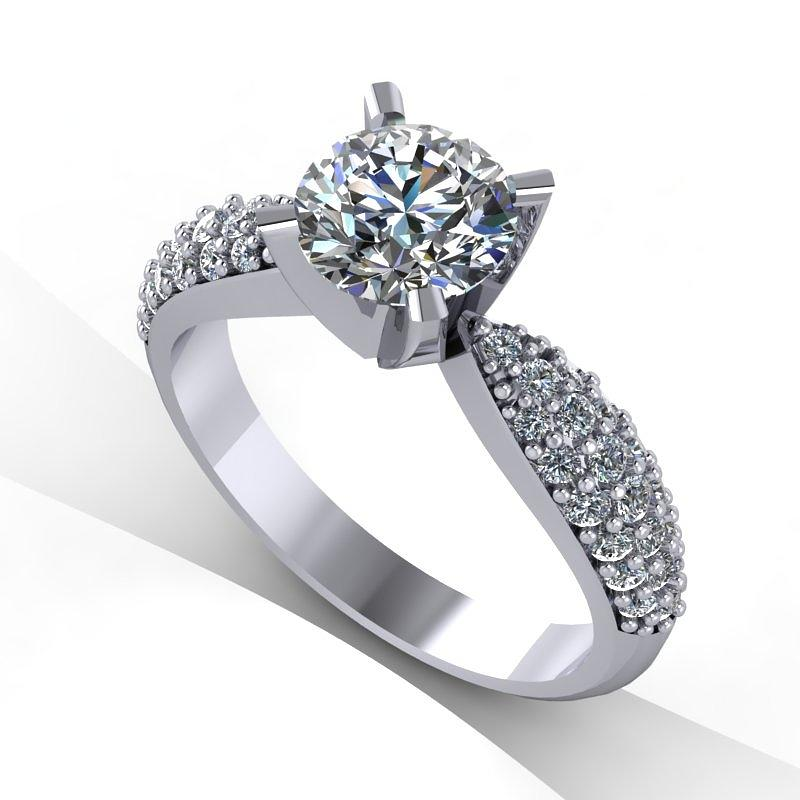 Yellow Gold  Jewelry - 14k White Gold Diamond Ring With Moissanite Center Stone by Eternity Collection