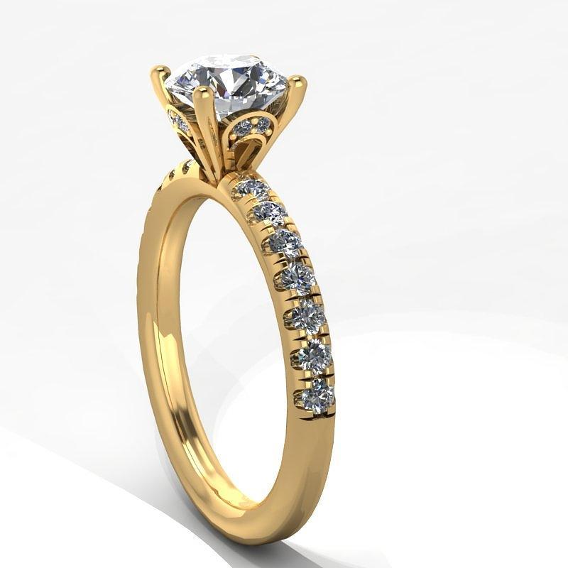 14k Yellow Gold Diamond Ring With Moissanite Center Stone Jewelry