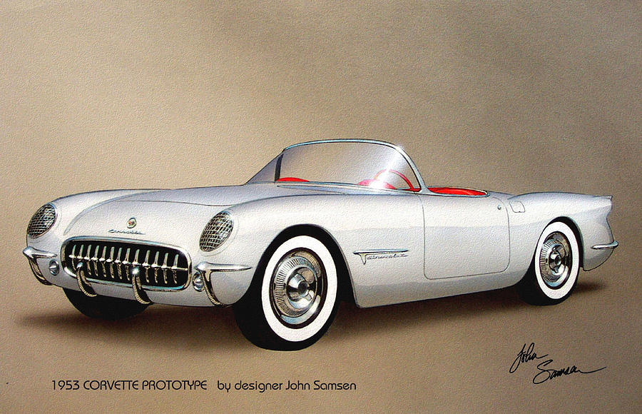 1953 Corvette Classic Vintage Sports Car Automotive Art