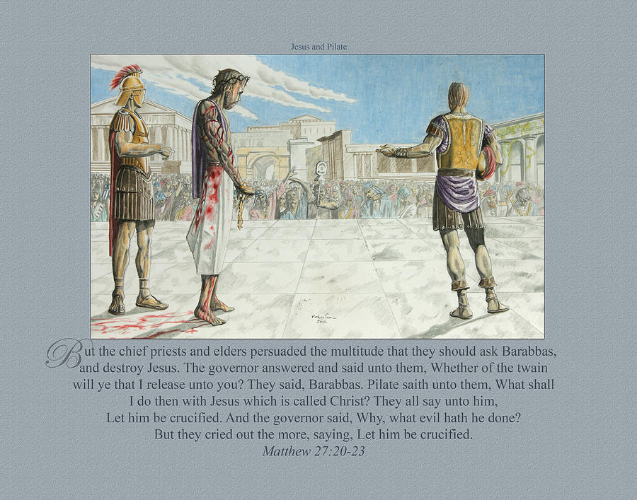 208 Jesus And Pilate Drawing