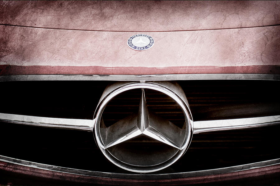 300 mercedes benz sl roadster hood emblem photograph by for Mercedes benz trunk emblem