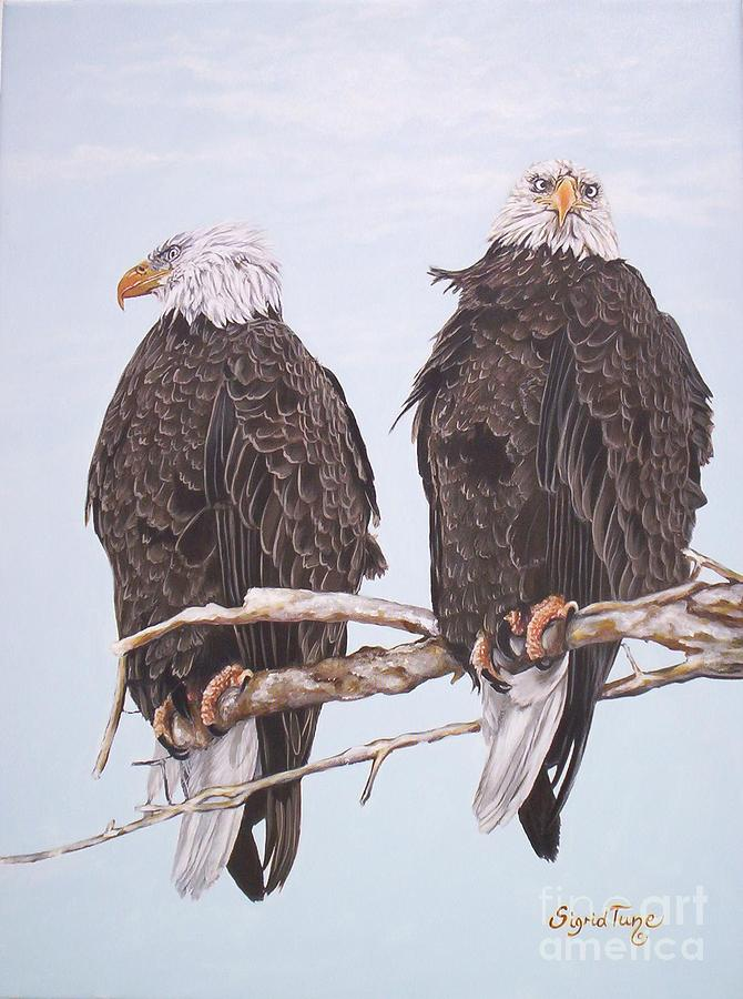 387 Two Perched Eagles Painting