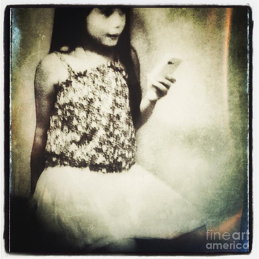 A Girl With Iphone Photograph  - A Girl With Iphone Fine Art Print