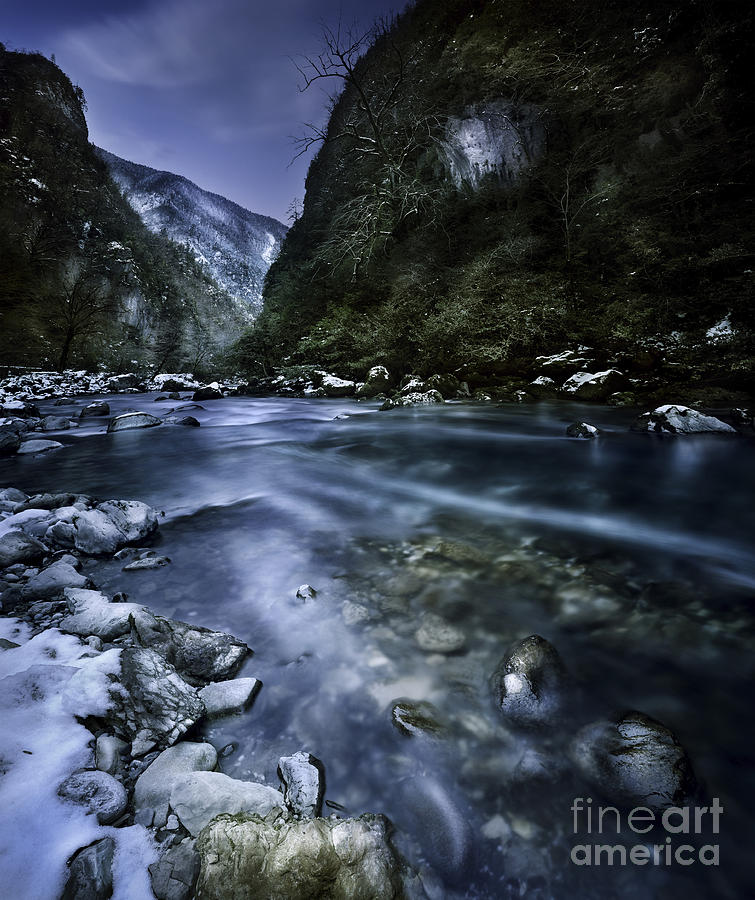 A River Flowing Through The Snowy Photograph  - A River Flowing Through The Snowy Fine Art Print