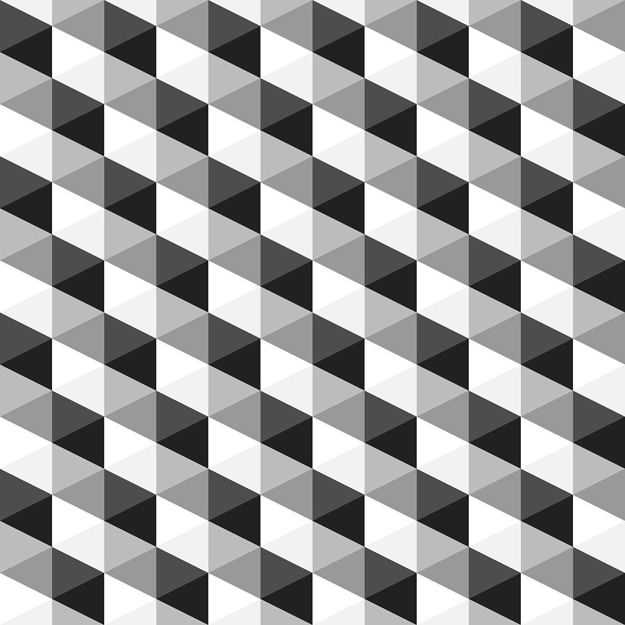 Abstract Monochrome Geometric Pattern Digital Art By