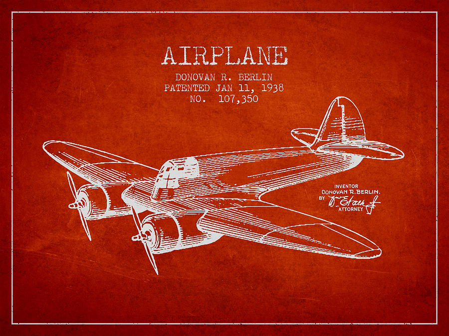 Airplane Drawing - Airplane Patent Drawing From 1938 by Aged Pixel