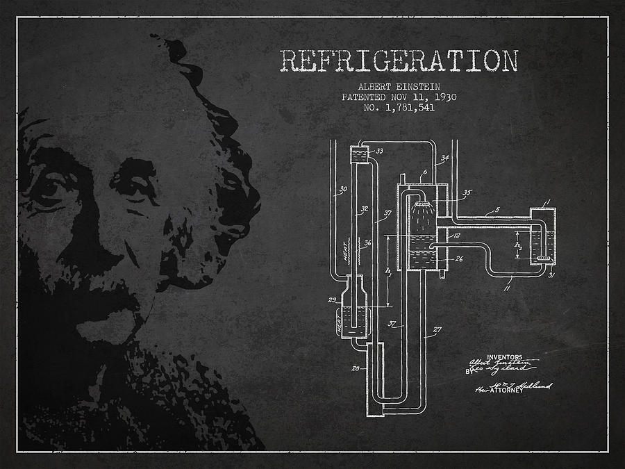 Albert Einstein Patent Drawing From 1930 Drawing