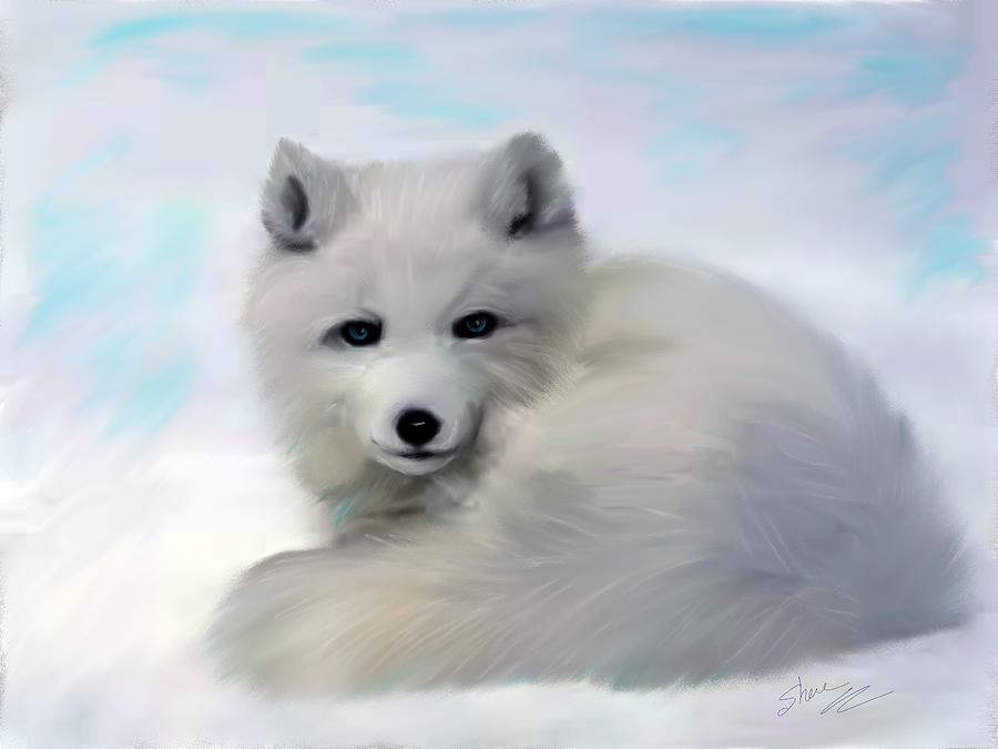 Arctic Fox Painting By Shere Crossman