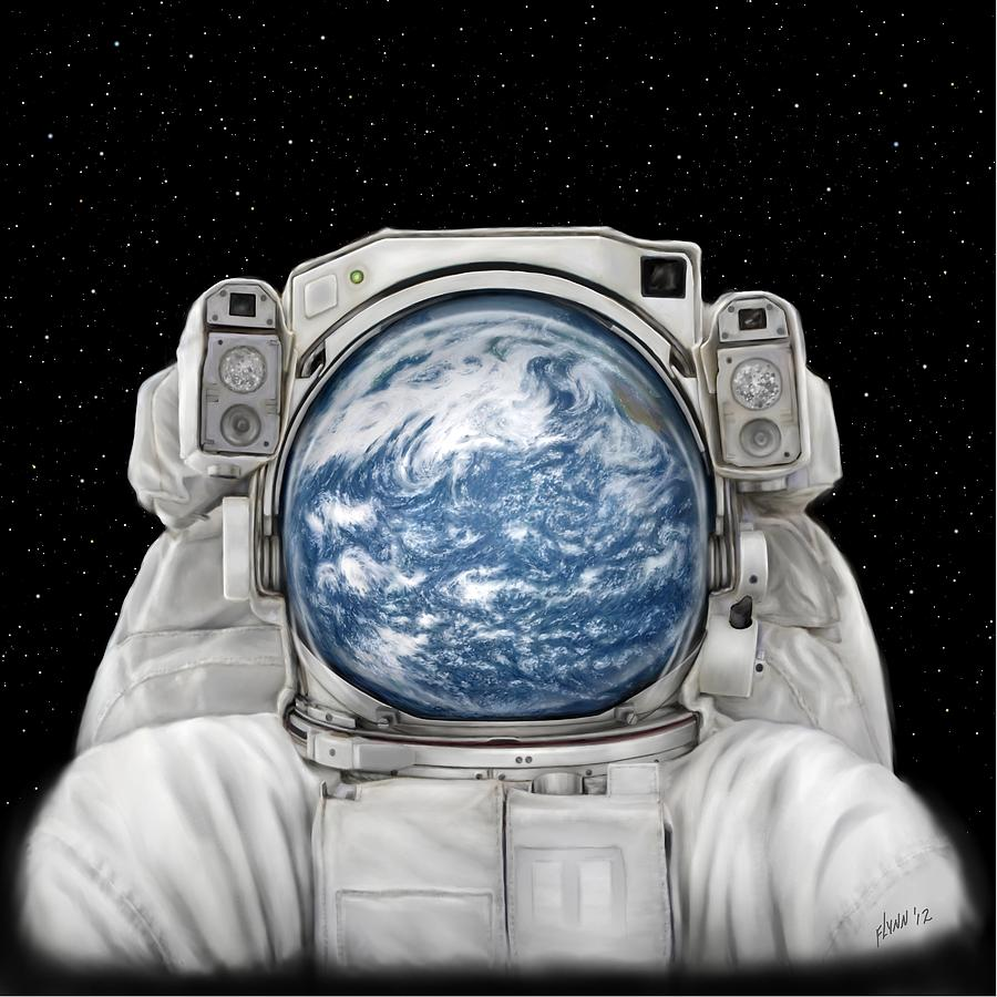 Astronaut Earth Painting  - Astronaut Earth Fine Art Print