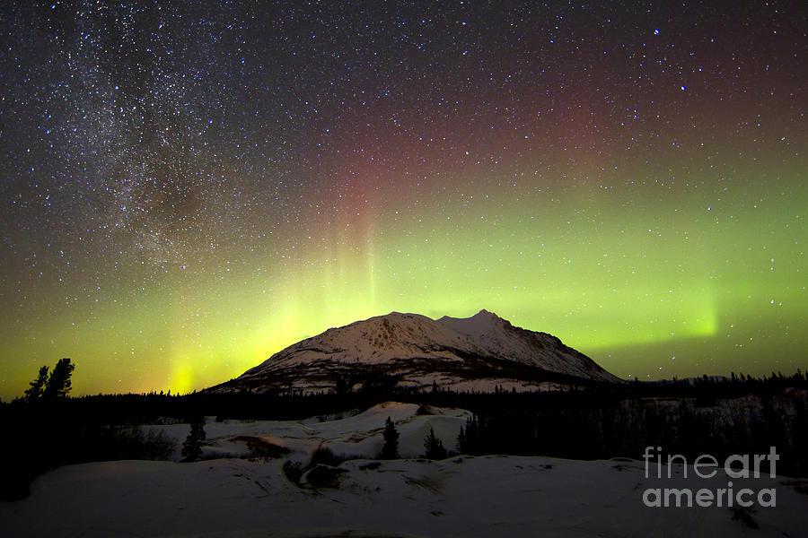 Aurora Borealis And Milky Way Photograph