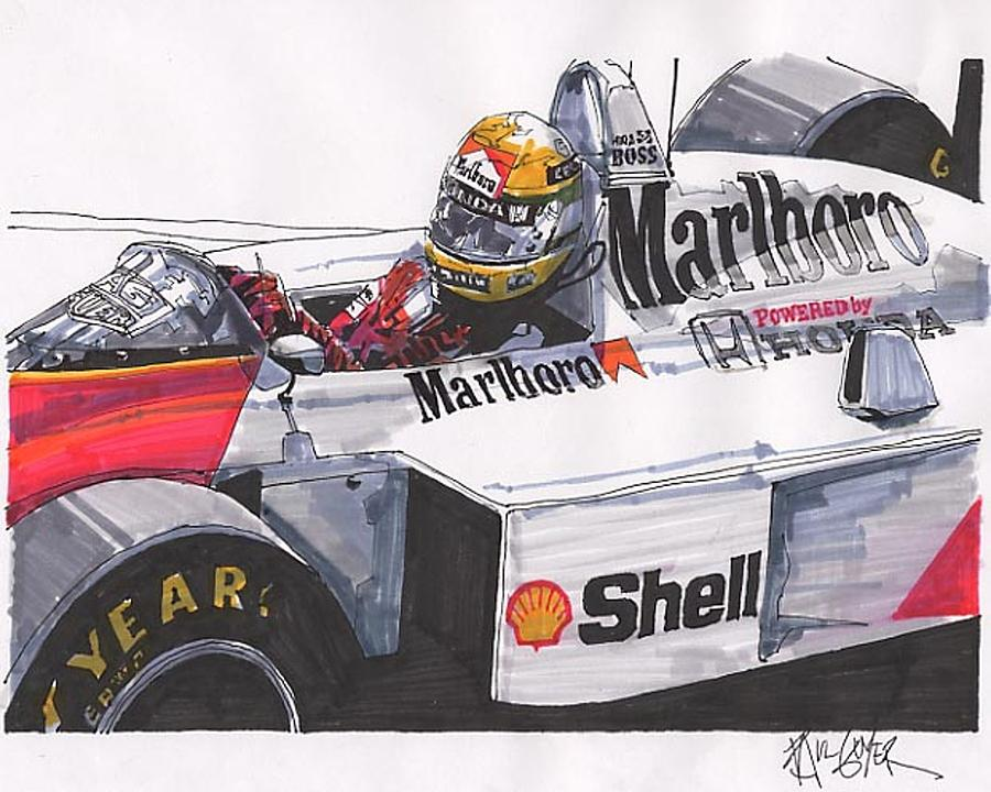 ayrton senna mclaren french grand prix drawing by paul guyer. Black Bedroom Furniture Sets. Home Design Ideas