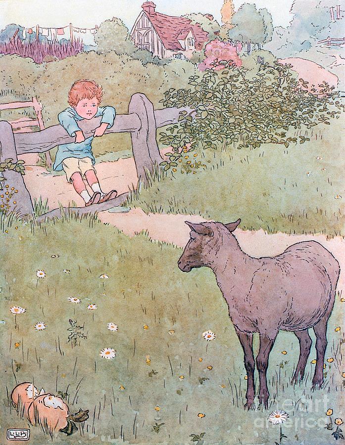 Nursery; Rhyme; Rhymes; Songs; Baa; Baa; Black Sheep; Cottage; Countryside; Lamb; Boy Drawing - Baa Baa Black Sheep by Leonard Leslie Brooke