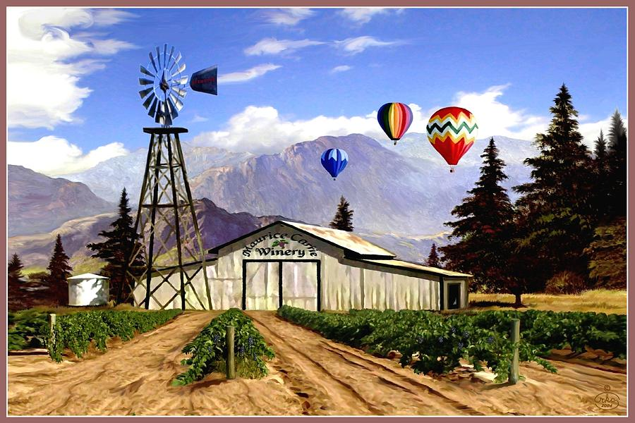 Balloons Over The Winery Painting
