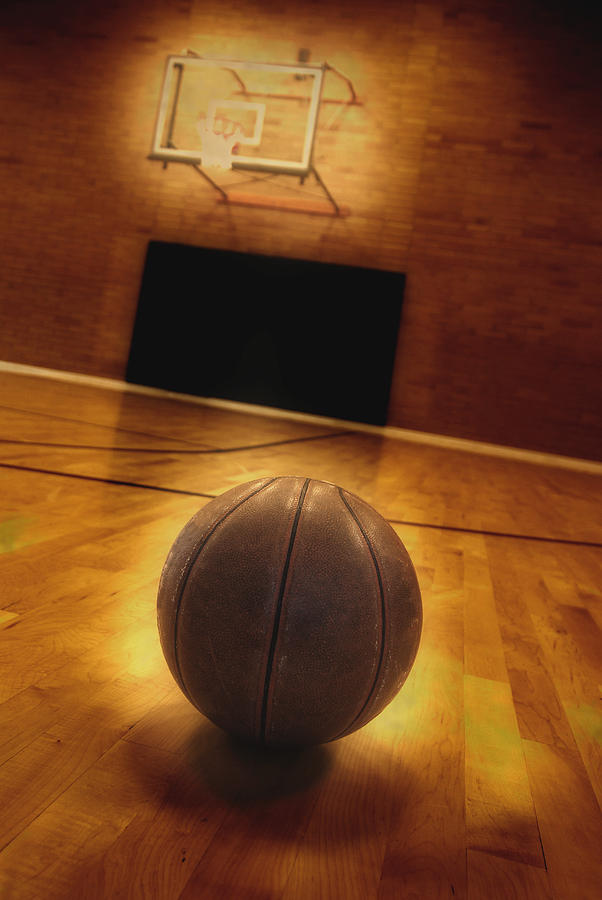 Basketball And Basketball Court Photograph