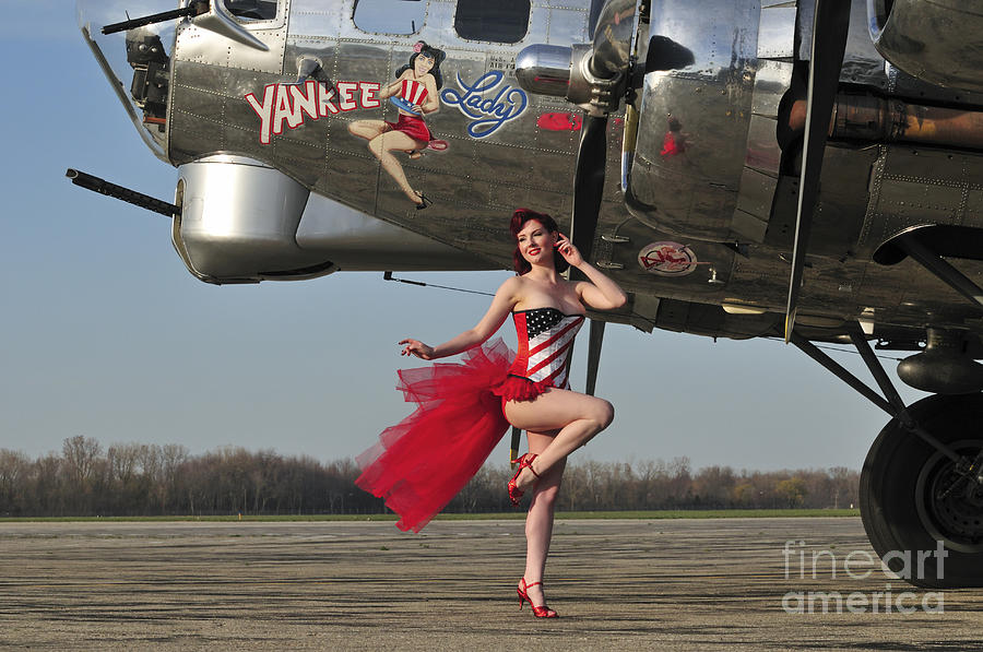 Bomber Photograph - Beautiful 1940s Style Pin-up Girl by Christian Kieffer