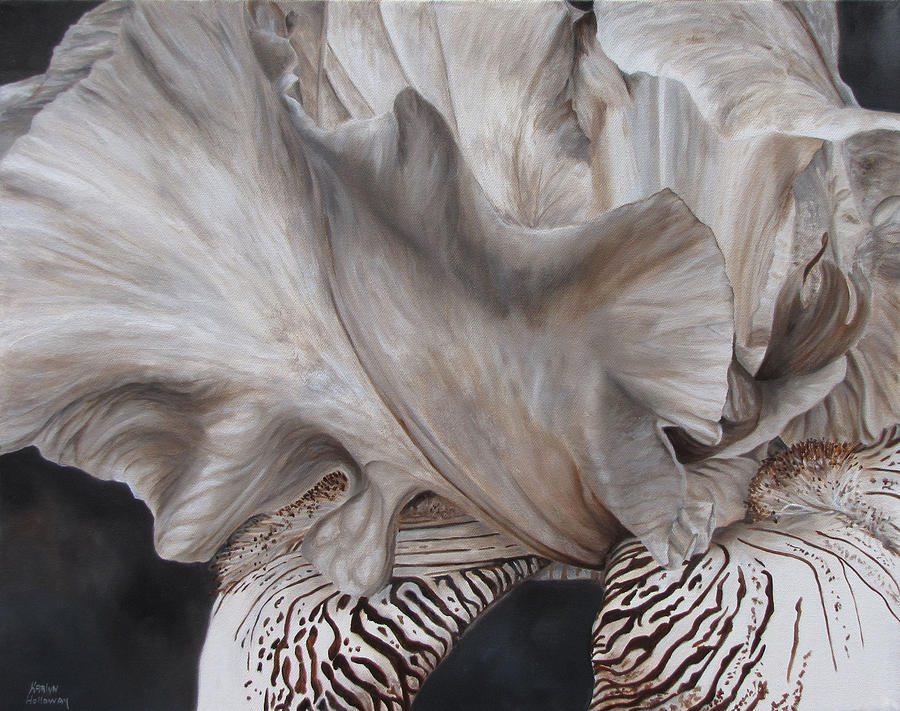 Brown And White Iris Painting - Between The Lines by Karlyn Holloway